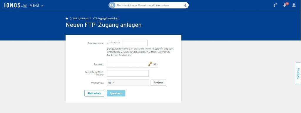 Wordpress installieren: WordPress installieren FTP Zugang anlegen 2 1