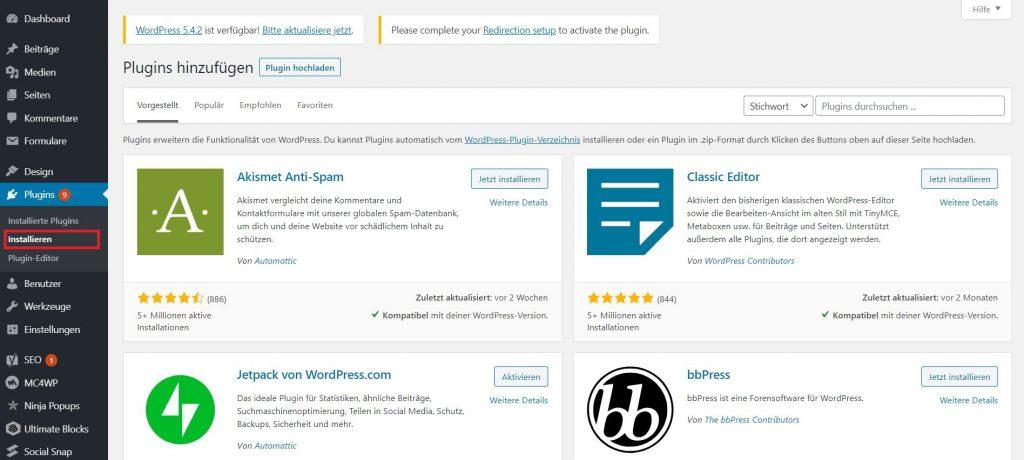 wordpress-backend: WordPress installieren Plugins installieren