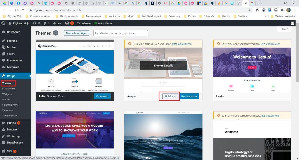WordPress-Themes: wordpress blog theme aktivieren