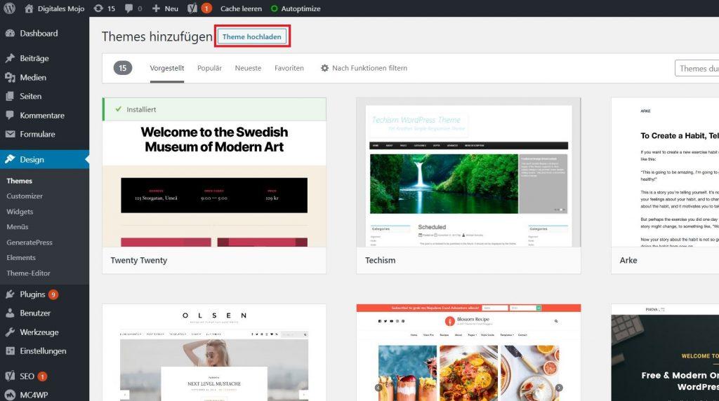 WordPress-Themes: wordpress blog theme installieren 2