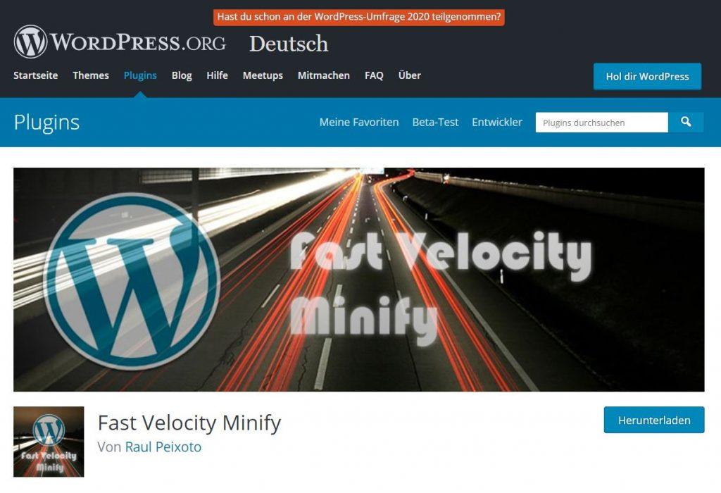 wordpress schneller machen: fast velocity minify