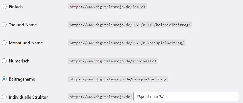 wordpress-backend: permalinks