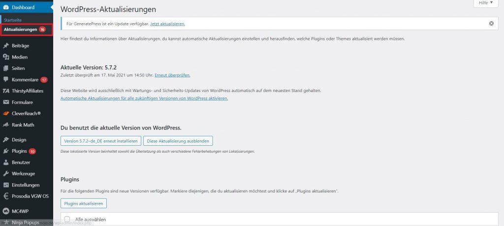 wordpress-backend: wordpress backend aktualisierungen