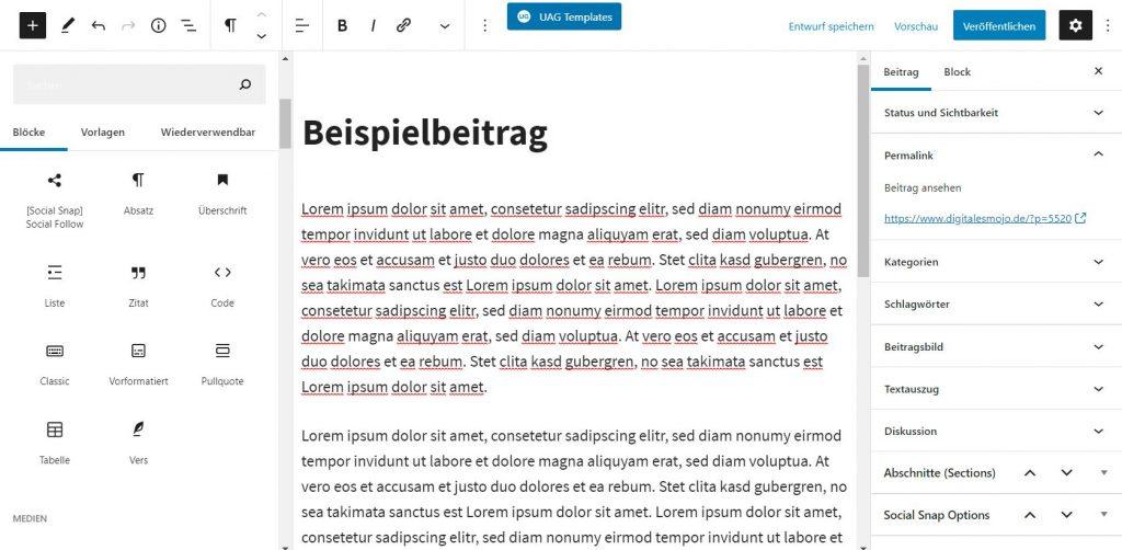 wordpress-backend: wordpress backend gutenberg